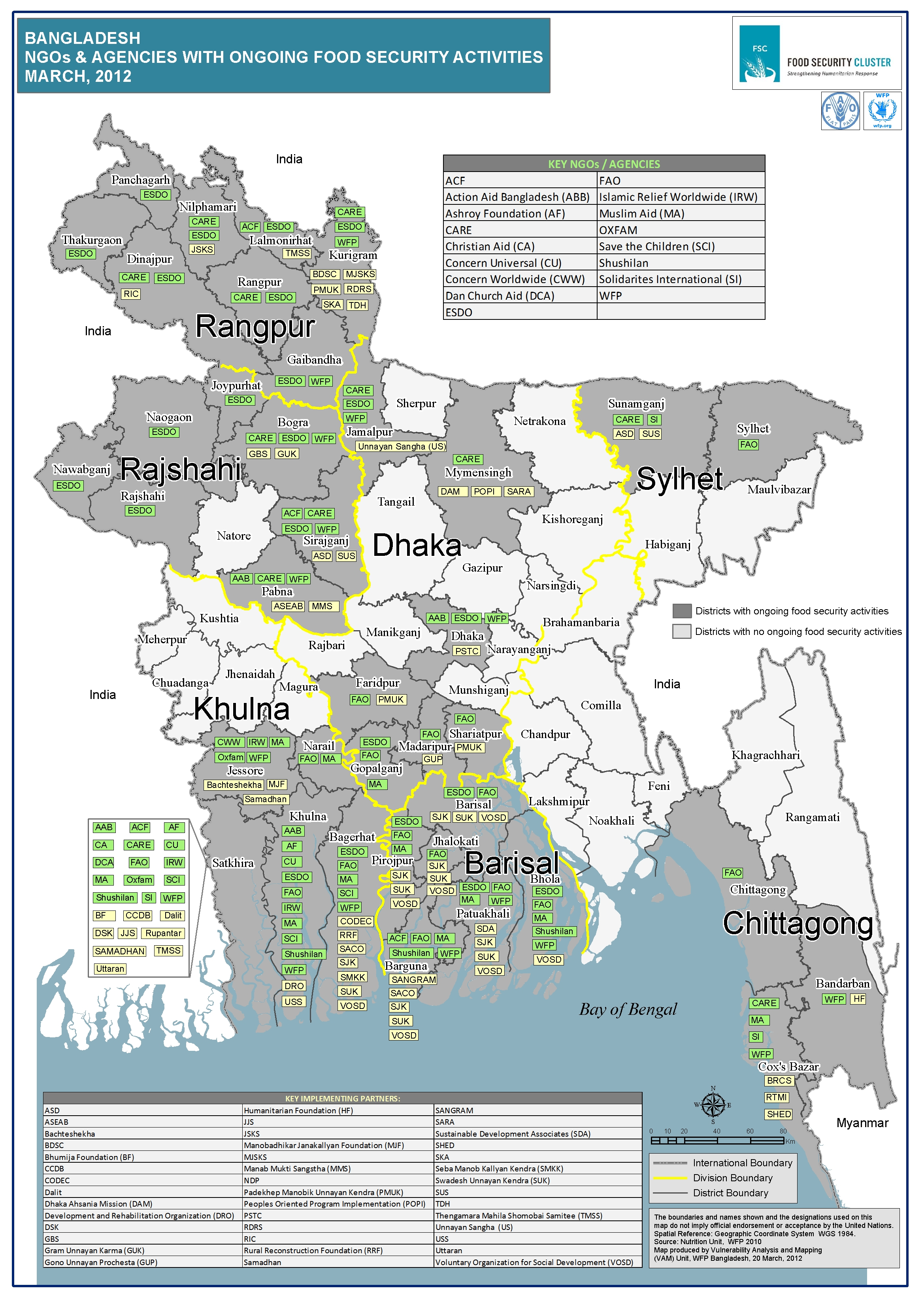 FSC Map Main Actors By District Food Security Cluster - Bangladesh map download