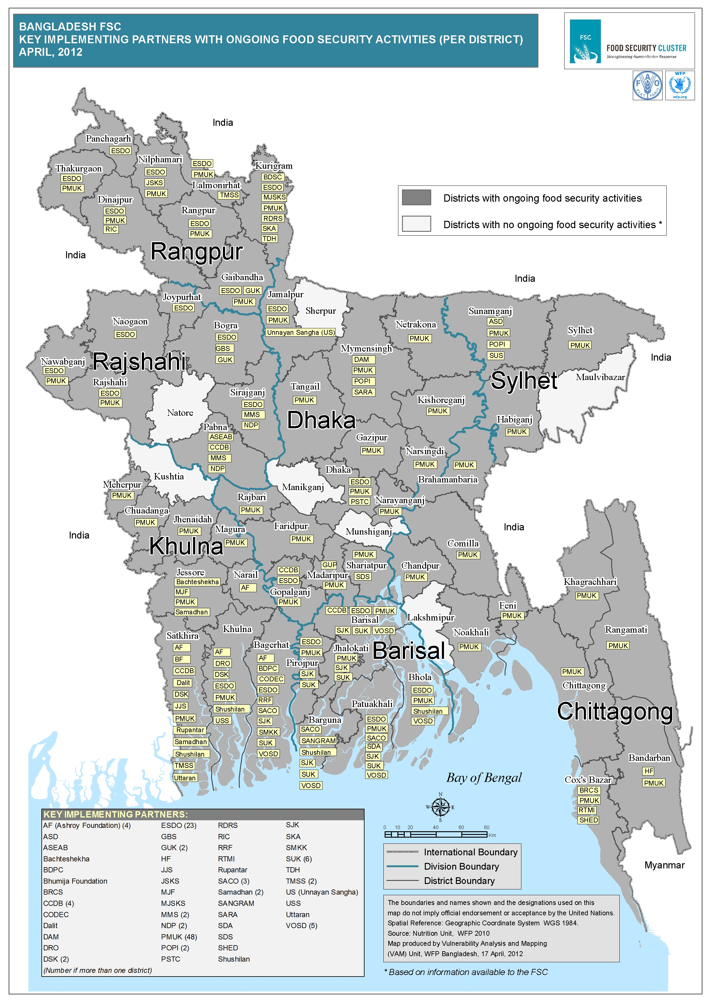 Bangladesh FSC Map Key Implementing Partners By District Food - Bangladesh map download