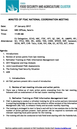fsac meeting minutes 3rd january 2017 food security cluster