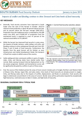 South Sudan Food Security Outlook report for January 2013
